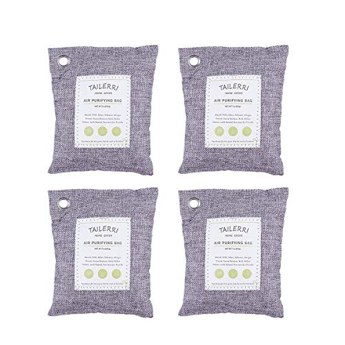 TAILERRI Bamboo Charcoal Air Purifying Bags, 200g Activated Odor Eliminators, Moisture Absorber, Eco Friendly Car Air Purifier, Home Air Purifier, Closet Freshener (4 Pack)
