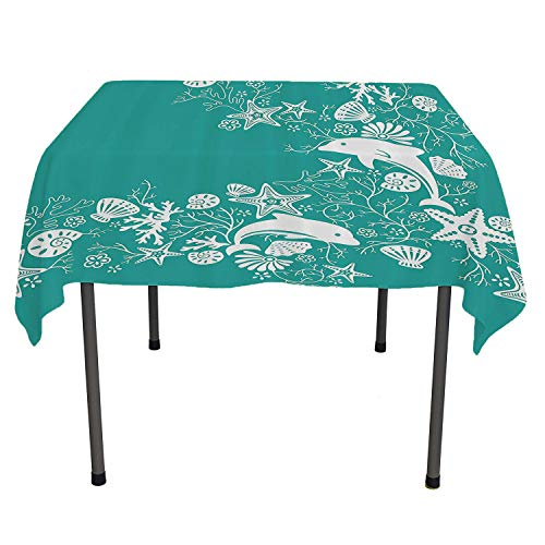 Sea Animals Reusable Tablecloth Dolphins Flowers Sea Life Floral Pattern Starfish Coral Seashell Wallpaper Sea Green White Acrylic Coated Tablecloth Spring/Summer/Party/Picnic 60 by 90