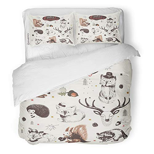 Emvency 3 Piece Duvet Cover Set Brushed Microfiber Fabric Breathable Cute Animal Drawings Sketches Squirrel Raccoon Hedgehog Foxes Deer Bedding Set with 2 Pillow Covers King Size ()