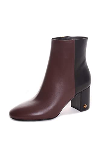 28c8344a31a17 Tory Burch Brooke Leather Two Tone Booties in Perfect Brown Perfect Black  Size 9