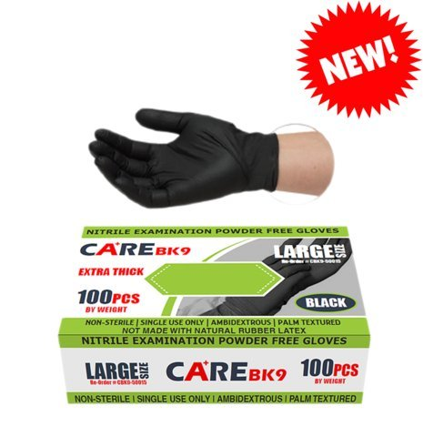 CARE BLACK 6-mil 9'' Nitrile Powder-Free Examination Gloves-Box - Size: Small