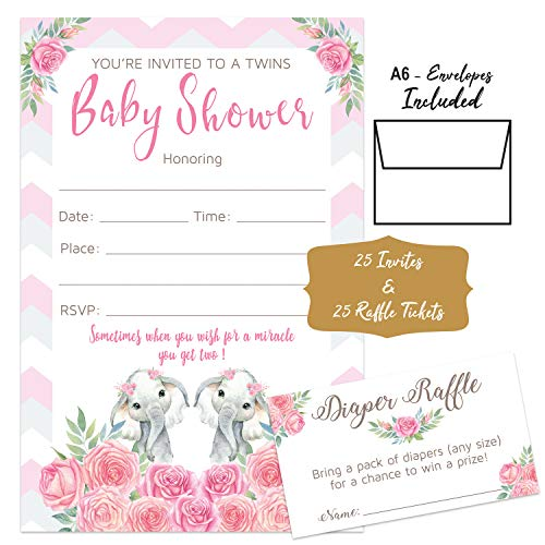 Pink Elephant Floral - Baby Shower Invitations Girl Twins, Envelopes and Diaper Raffle Tickets. Set of 25 Floral Fill in The Blank Style Invites with Envelopes - Floral Baby Shower Invitations Girl]()