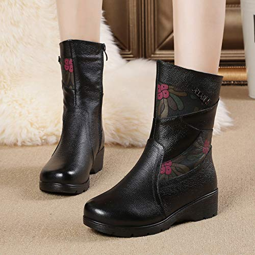 Boots 7 UK Black Women Flower Calf Mid Print Soft Gaslinyuan 5 Leather Zipper Color Size 8Zp7qxO
