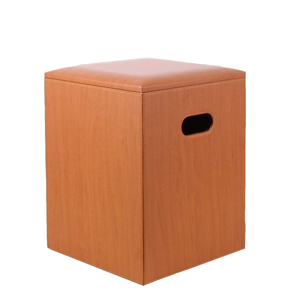 Foot Stool Multi-Function Storage Box orange Wood Grain Leather Footrest Seat Square Household Change shoes Bench