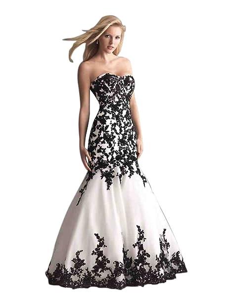 Beauty-Emily Cordón de la Corte Sirena sin tirantes Escote Corazón cremallera de barrido vestidos de boda del tizón: Amazon.es: Ropa y accesorios