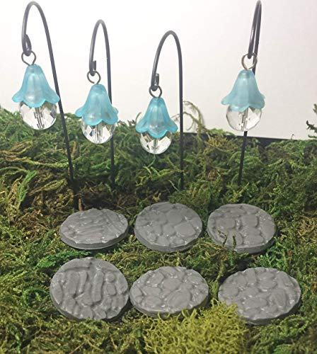 Fairy garden MINIATURE hanging lanterns and stepping stones. 10 piece set.