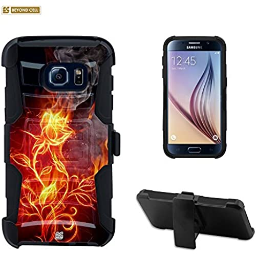 Galaxy S7 Edge Case, S7 Edge Case, Beyond Cell Durable High Impact Hard+Soft Hybrid Rugged Case Built in Kickstand Belt Clip Holster-Flaming Flower Sales