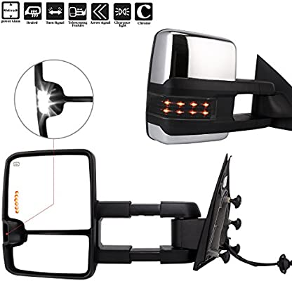 POWER HEATED,W//AMBER SIGNAL,CHROME Perfit Zone Towing Mirrors Replacement Fit 2014-2017 for SILVERADO//GMC SIERRA PAIR SET