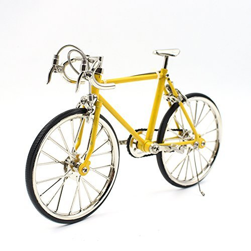 T.Y.S Racing Bike Model Alloy Simulated Road Bicycle Model Decoration Gift, Yellow
