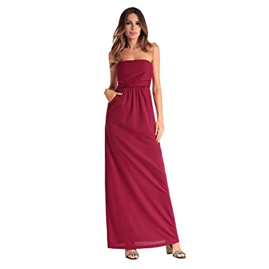 b823218f2ec7 Womens Dresses Off Shoulder Bandeau Solid Color Maxi Dress Strapless Summer  Beach Spring and Summer Red