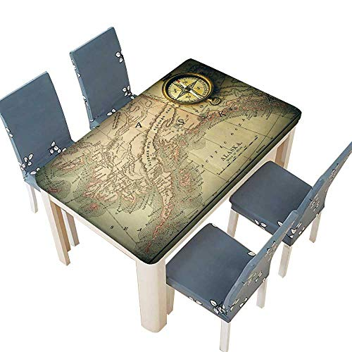 PINAFORE Polyester Antique Brass Compass Over Old XIX Century map Linen Cotton Tablecloths for Kitchen Room W57 x L96.5 INCH (Elastic Edge)