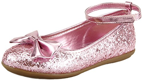 [The Doll Maker Metallic Glitter Strap Flat Shoes - FBA173059D-12] (Toddler Red Glitter Shoes)