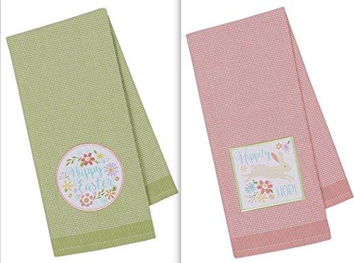 DII Design Imports Gingham Easter Embellished Kitchen Dish Towels Set of 2 Hippity Hop Pink - Happy Easter Green