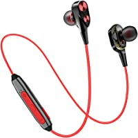 pTron BT Boom Dual Driver in-Ear Wireless Bluetooth Headphones with Mic - (Black and Red)