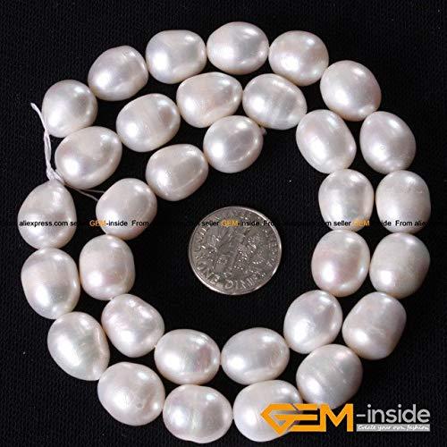(Calvas 12-13x14-18mm White Genuine Freshwater Pearl Beads Strand 15