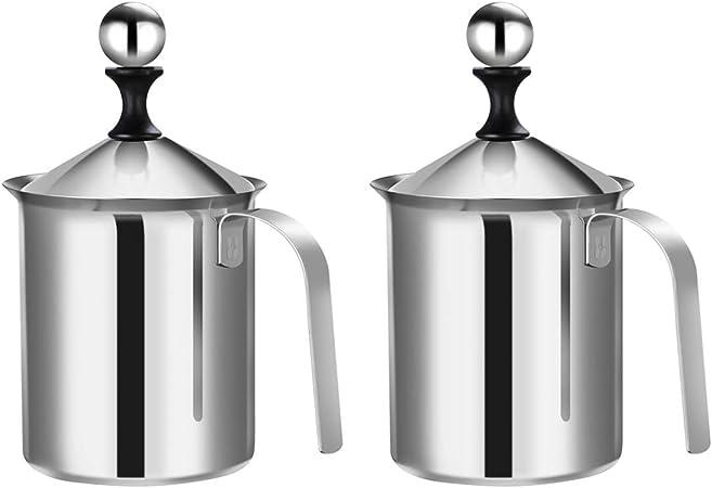 Espumador de leche de acero inoxidable para capuchino y caf/é 20x13x9cm plateado Hemoton 400 cc