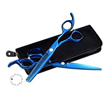 EYX Formula Set of Blue Professional Japanese Stainless Steel Hairdressing scissors ,Hair Thinning Hair Cutting Tools Barber scissors suit for Cutting