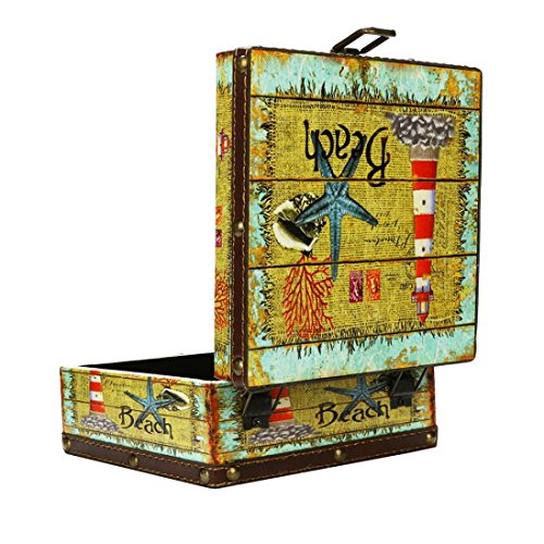 (Hongxin 16x16 x 8cm Vintage Nostalgic Style Retro Suitcase Wood Storage Box Jewelry Box Decorative Embroidery Pattern With Copper Lock Desk Book Finishin Creative Gift (B))