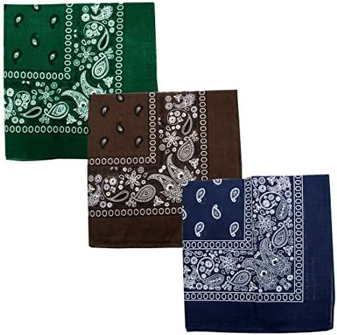 Bandanas: Kaiser Assorted Cotton Double Sided Paisley Bandana