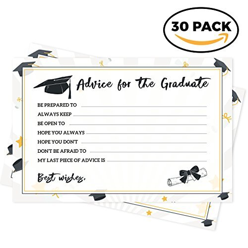 (Graduation Party Advice Cards - 30 Pack - 2018 Grad Favors, Decorations, Activities, Invitations and Games - Cap Box Holder)