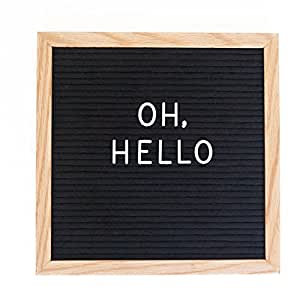RIVI Vintage Inspired Changeable Letter Board 10x10 inches with Alphabet and Oak Frame