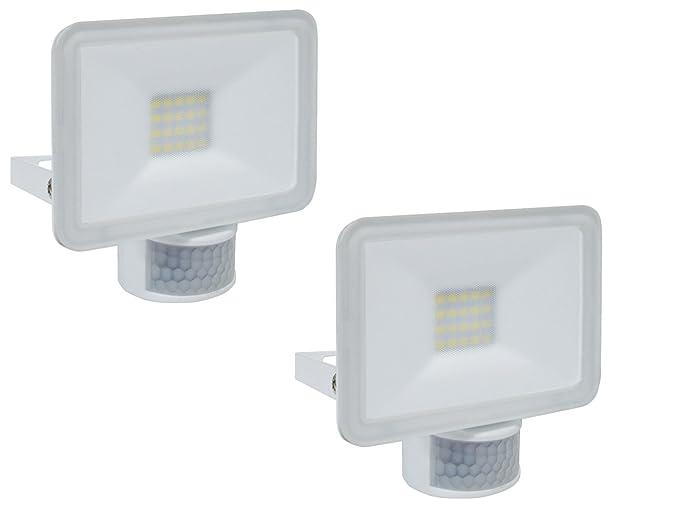 Juego de 2 LED/Foco con detector de movimiento, 10 W, 110 °