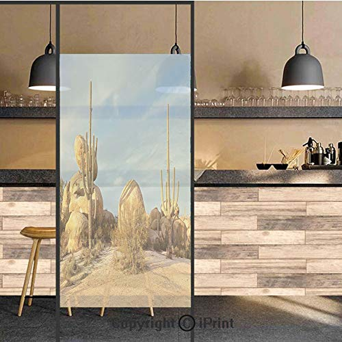 3D Decorative Privacy Window Films,Desert Scenery Saguaros and Boulders Catching Days Last Sunbeams Decorative,No-Glue Self Static Cling Glass film for Home Bedroom Bathroom Kitchen Office 17.5x71 Inc