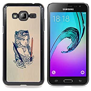 SKCASE Center / Funda Carcasa protectora - Hermosa Mujer del oso;;;;;;;; - Samsung Galaxy J3 GSM-J300