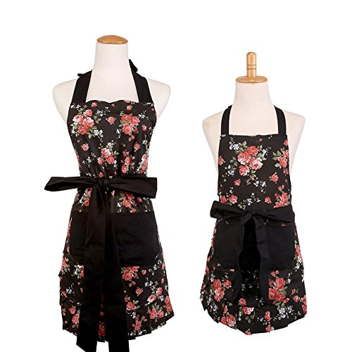 New Classic Retro Style Cotton Canvas Women's & Kid Girl's Apron, Mother and Daughter Cooking or Baking Apron, Kitchen Aprons with One Practical Front Pocket (Black Ground with Red (Daughter Aprons)