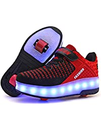 Roller Shoes Boys Girls USB Charge LED Light Up Sneaker Kids Wheeled Skate Shoe