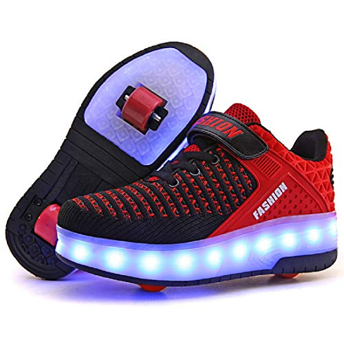 Roller Light - AIkuass Roller Shoes Boys Girls USB Charge LED Light Up Sneaker Kids Wheeled Skate Shoe (13 M US Little Kid, 1- Black Red- Double Wheels)