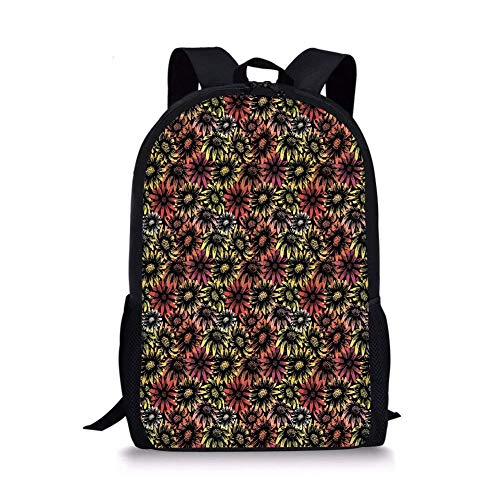 School Bags Floral,Vintage Daisy and Sunflowers Retro Grunge Stylized Vibrant Artful Pattern Print Decorative,Multicolor for Boys&Girls Mens Sport Daypack ()