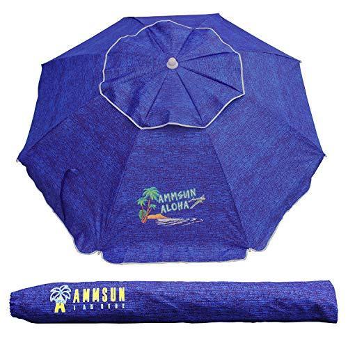 AMMSUN 6.5 Ft Outdoor Patio Beach Umbrella Sun Shelter with Tilt Air Vent and Carry Bag UPF 50+ Navy Blue