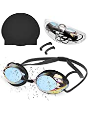 Zacro Silicone Swimming Cap with Swimming Goggles with No Leaking, Anti Fog, UV Protection