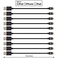 CreatePros Apple Certified Short Lightning to USB Cable for iPhone, iPad and iPod - 7.5 Inches (19 Centimeters) - Black, 10-Pack