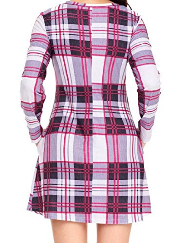 Comfy Plaid Classic Rosered2 Women Dress Big Hem Crewneck Club Casual Waist aBafxqpw