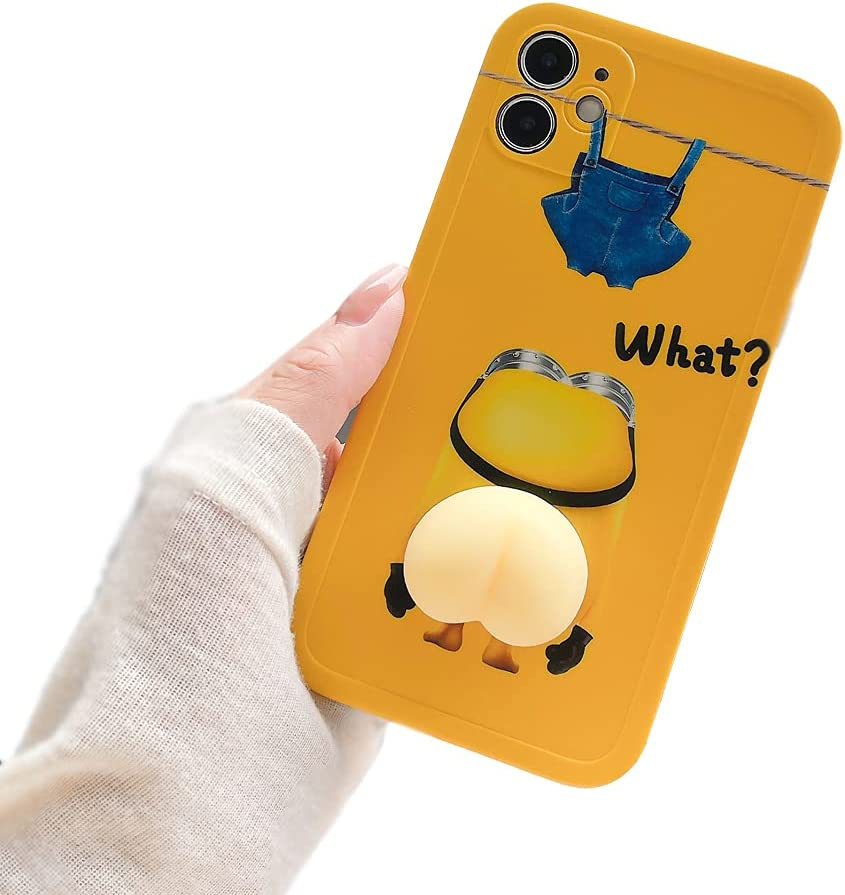 Decompression Finger Pinch Cute for iPhone Xs Case Soft Squishy 3D Pinch Yellow Protective Kawaii for Apple iPhone X Case (Pinch Yellow, iPhone X/XS)