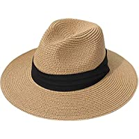FURTALK Womens Sun Straw Beach Hat Panama Fedora UPF50 with Neck Cord