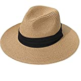 Womens Wide Brim Straw Panama Hat Fedora Summer Beach Sun Hat UPF50