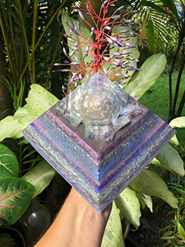 (Pūlehulehu Twilight EXTRA LARGE Orgone Pyramid with Pearlized Turbo Shell, Amethyst Tip and Fluorite)