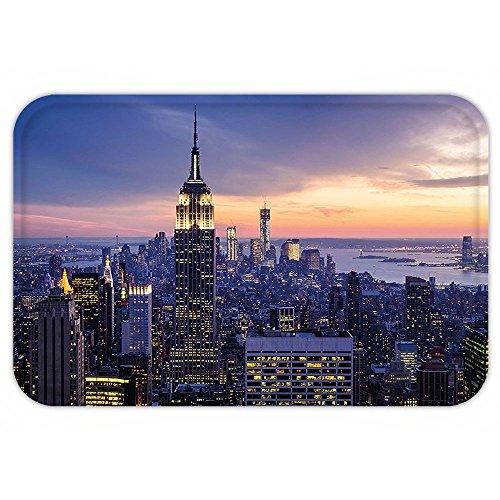 VROSELV Custom Door MatModern Decor New York City Skyline with Skyscraperat Sunset Night American Town Image Blue - Queens Md Town