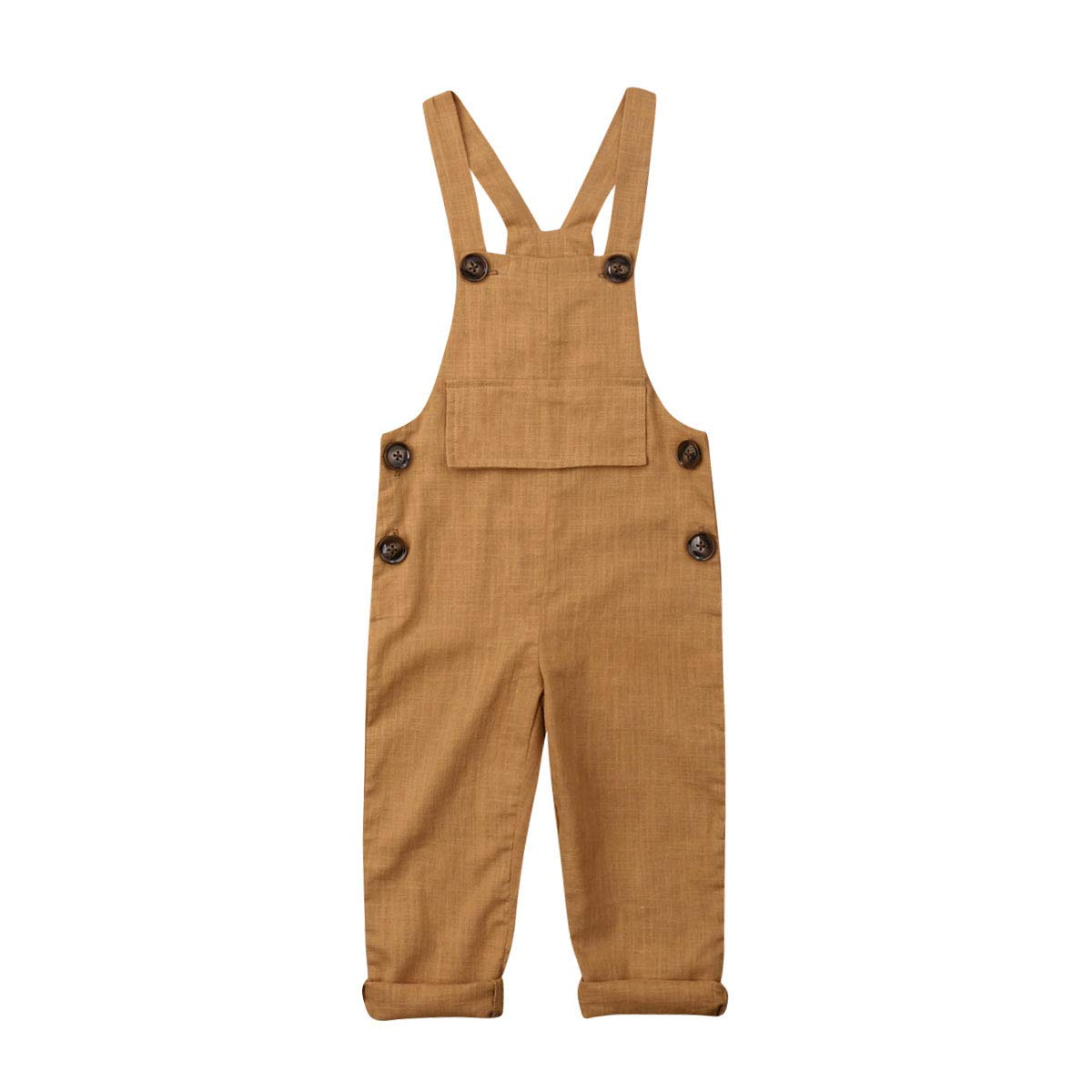 Tsafiddle 0-3T Unisex Baby Overalls Roll Up Button Summer Straps Pants Romper Suspender Bottom