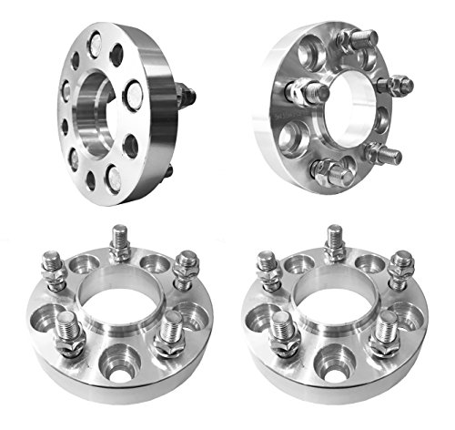 5x4.5 Hubcentric wheel spacers (1 inch) 25mm (70.5mm bore, 14x1.5 Studs) 5 Lug Wheel Spacers for 2015+ Ford Mustang (Silver) (4 pieces)