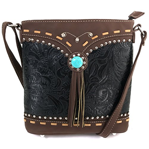 - Justin West Tooled Western Leather Turquoise Stone Fringe Studded Shoulder Concealed Carry Handbag Purse (Black Messenger Only)