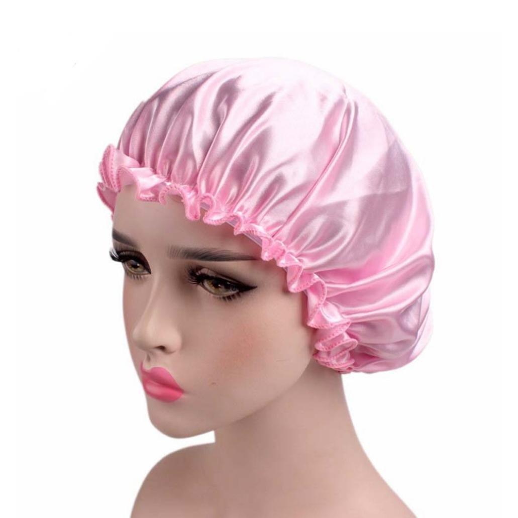 Extra Large Satin Sleep Bonnet Cap,Chartsea Silk Night Cap Head Cover Bonnet for Beautiful Hair (Pink)