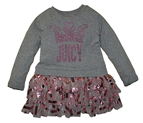 Juicy Couture Little Girls' Toddler Dress With Poplin/Fail Mesh Skirt, Gray, (Kids Couture Clothing)