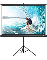TaoTronics TT-HP019 Projector Screen with Stand, Indoor Movie Screen 100 Inch Diagonal 4:3 with Wrinkle-Free Design (Easy to Clean, 1.1 Gain, 160° Viewing Angle & Includes a Carry Bag)