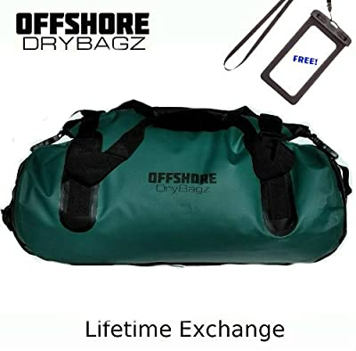 OFFSHORE DRYBAGZ Heavy Duty Waterproof Duffel Bag - Dry Bag Backpack 40 Liter Heat Welded Seams, UV, Mold, Dry Rot Resistant. Multiple Attachment Points & Quick Release Clasp. Life Time Exchange