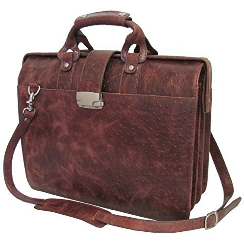 Brown Ostrich Litigator Briefcase, Leather Carriage Bag, Zippered Security, Solid Pattern, BusinessSoftside Type, Locking Feature, RemovableAdjustable Leather Shoulder Strap by OTSK