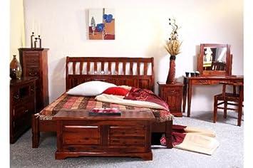 Bett Siena Akazie massiv Holz Moebel Holzbett Schlafzimmer kolonial ...